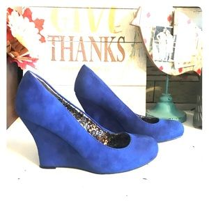 Cato electric blue wedge shoes 10